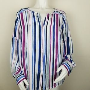 The Limited 1X Striped Button Down Blouse